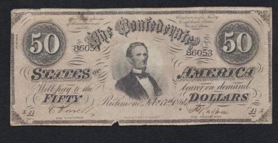 MWF912E 1864 Confederate $50 Note Richmond Number 860