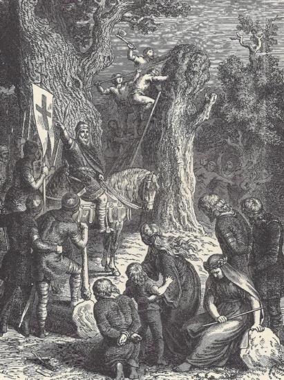 ORIGINAL Antique PRINT scene-CUTTING DOWN A SACRED OAK