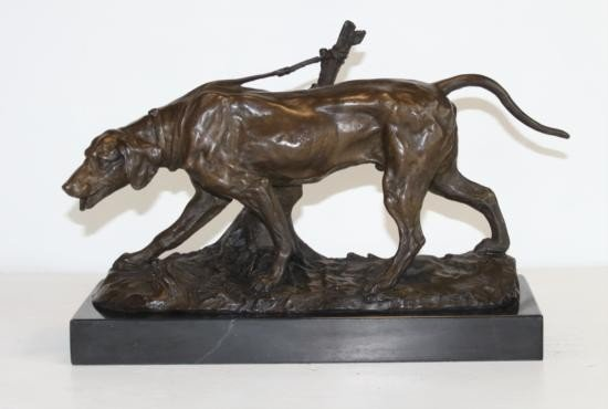 Magnificent Bronze Sculpture Coon Hound