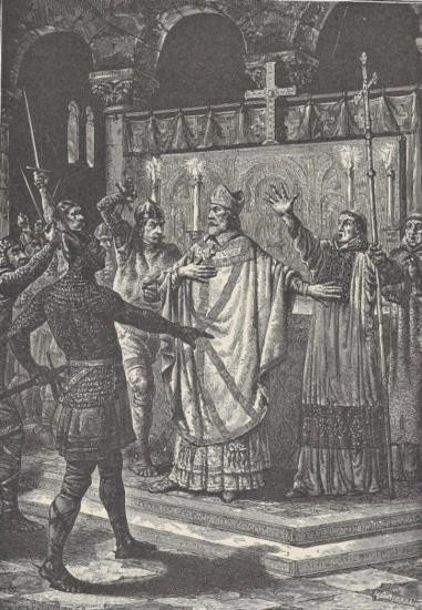 ORIGINAL Antique PRINT scene-MURDER OF THOMAS A BECKET
