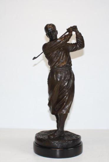 Striking Bobby Jones Golfer Bronze Sculpture After Ro