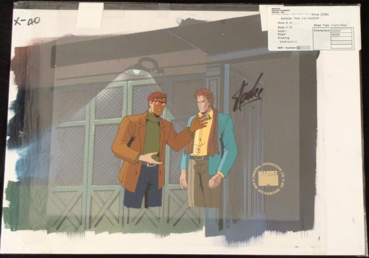 Signed Stand Lee Orig Cel Production X-Men Background