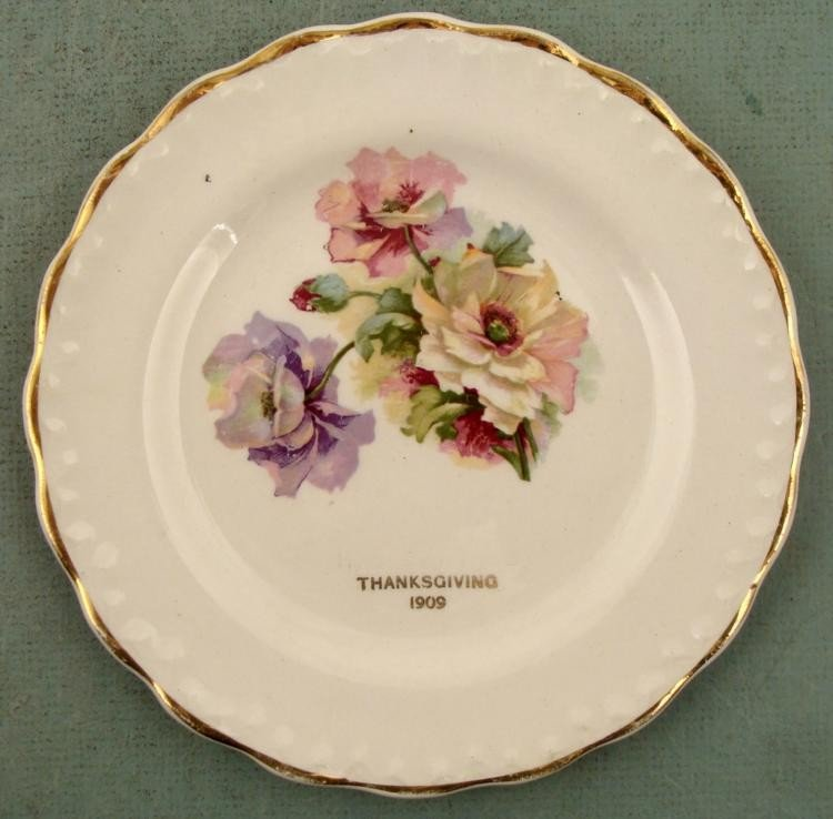 Antique Carnation McNicol Plate Thanksgiving 1909
