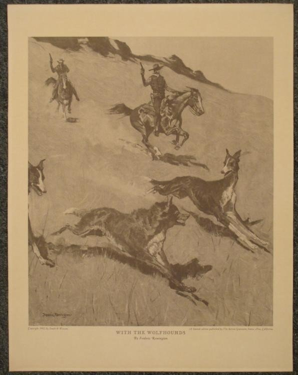 Frederic Remington With the Wolfhounds West Art Print
