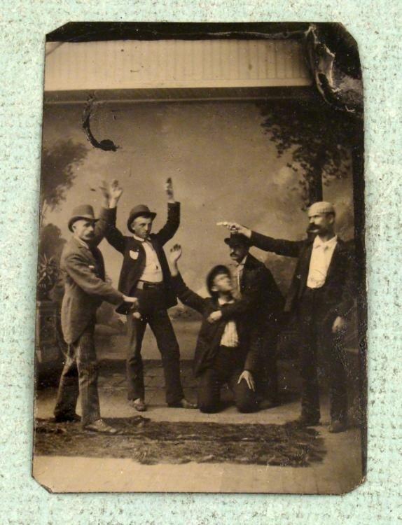 Antique Tintype Photo Robbery Scene on Stage