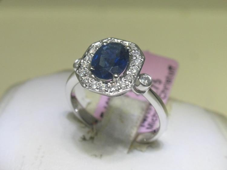6 1/2 14K White Gold Diamonds and Blue Sapphire Ring