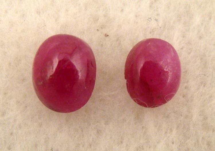 2 Rubies Oval Red Ruby Gemstones