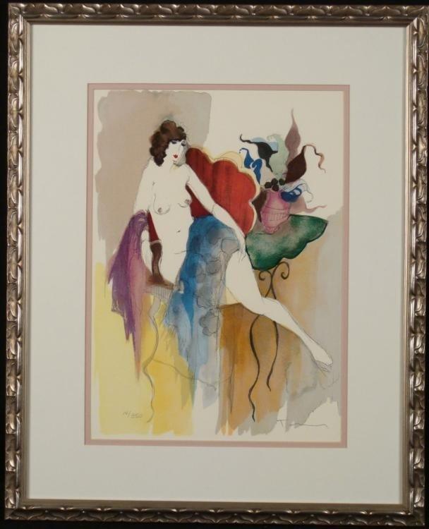 Itzchak Tarkay Signed Ltd Ed Art Print Nude Framed