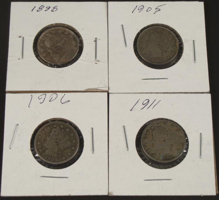 4 High Grade V Nickels 1898, 1905, 1906, 1911