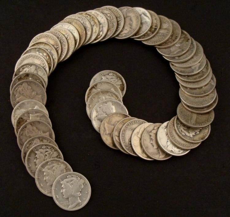 50 Mixed Date Mercury Silver Dimes -All Full Dates