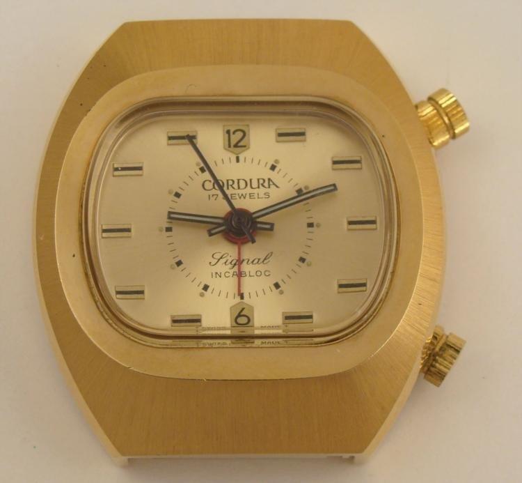 Cordura Signal Incabloc Swiss Gold Tone Watch 1970s 17J