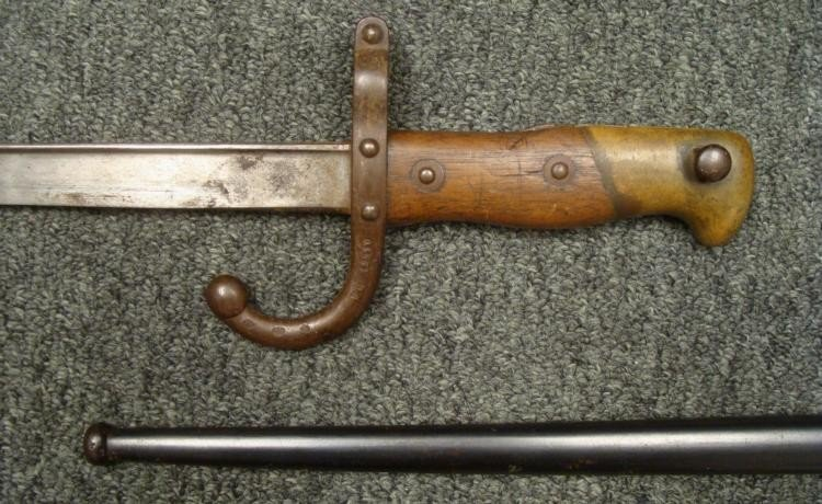 FRENCH M1874 EPEE SWORD BAYONET AND SCABBARD 1877 ORIG