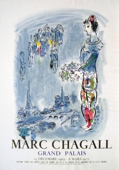 Marc Chagall Art Print Magician of Paris -Mourlot 1970
