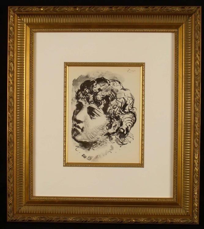 Pablo Picasso Lithograph Tete de Femme Framed 1930