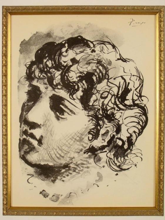 Pablo Picasso Lithograph Tete de Femme Framed 1930 - 2