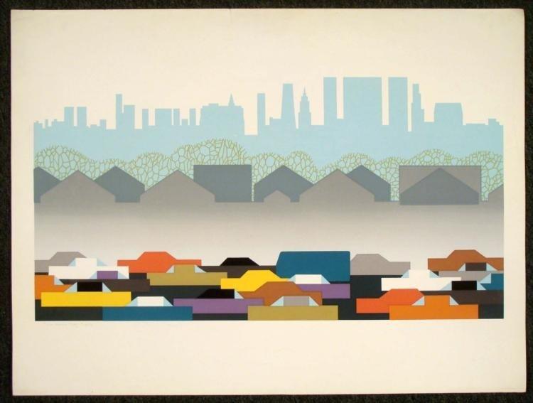 Steve Horan Signed Urban Landscape Art Print City 1976