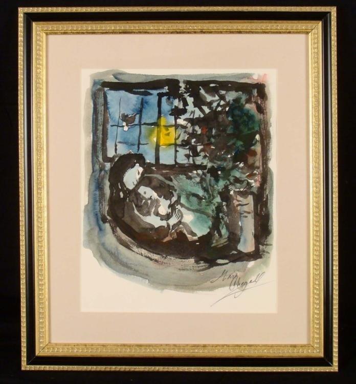 Marc Chagall Signed Art Print Moonlight Framed