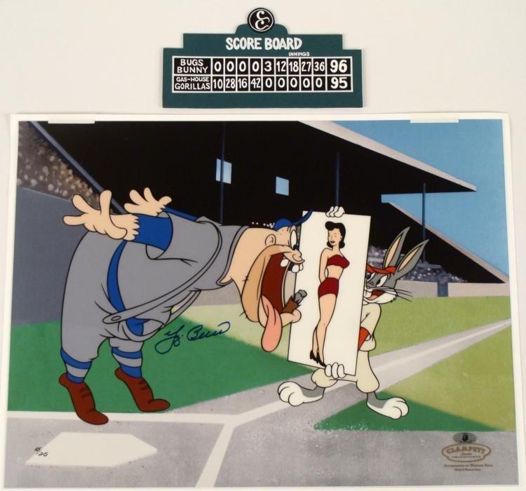 Original Signed Yogi Berra Cel Animation Art Bugs Bunny