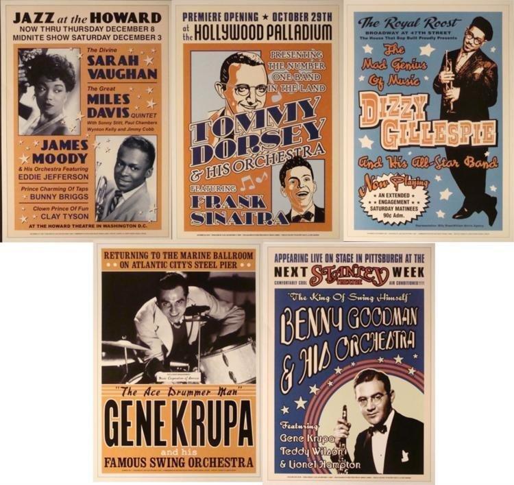 5 Jazz Concert Posters Gene Krupa Gillespie Goodman