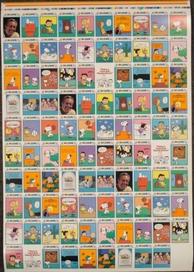 Peanuts Uncut Card Sheet 3 Full Sets Comics MINT