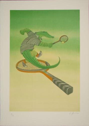 Fabulous Funny ALLIGATOR TENNIS Signed LE Art Print