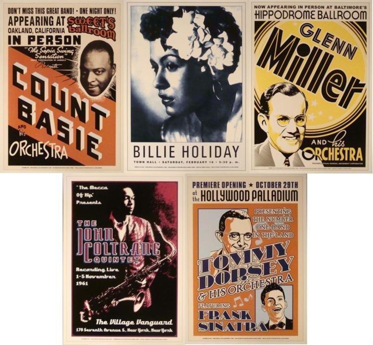 5 Jazz Concert Posters Sinatra Glenn Coltrane Holiday