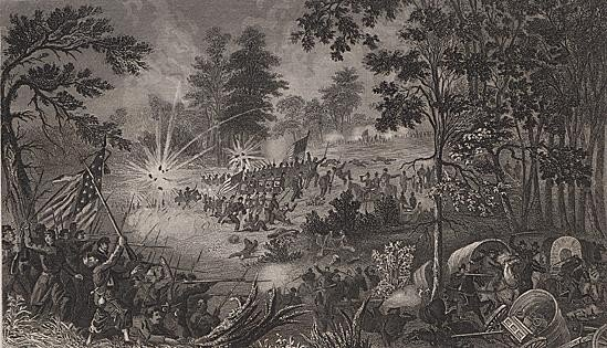 ORIGINAL Antique PRINT scene-FIRST BATTLE OF BULL RUN