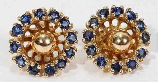 14KT GOLD AND BLUE SAPPHIRE JACKETS:Earrings have .75ct