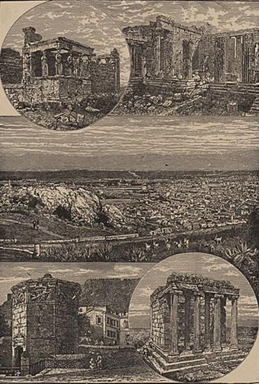 ORIGINAL Antique PRINT scene-VIEWS IN ATHENS