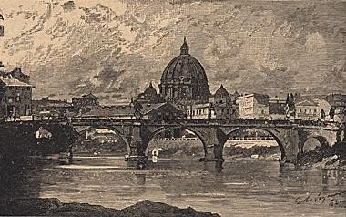 ORIGINAL Antique PRINT scene-THE BRIDGE OF SANT' ANGEL