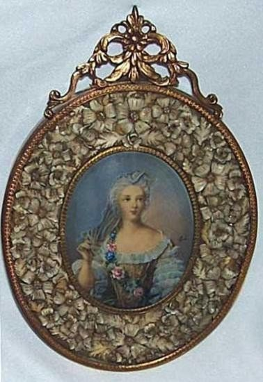 LOVELY CARVED FLOWERS FRAME HANDPAINTED MINIATURE PORTR