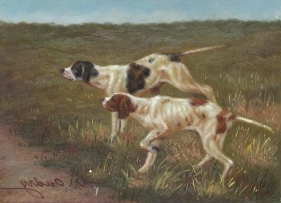 5 x 7 Oil on Board ~Hunting Dogs~ Signed W. Oudry