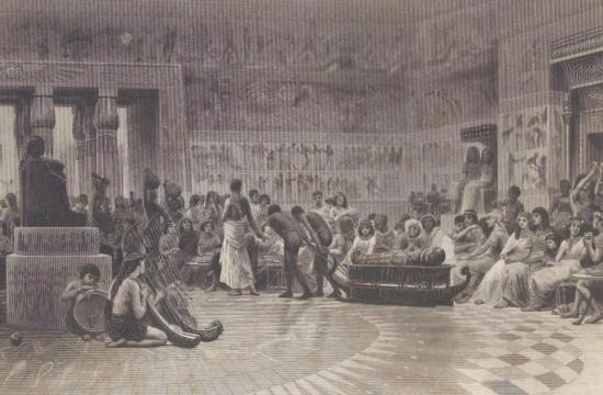 ORIGINAL Antique PRINT scene- EGYPTIAN FEAST