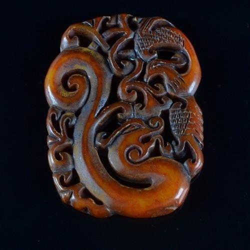 MWF1688 Lovely Handcarved old jade dragon pendant