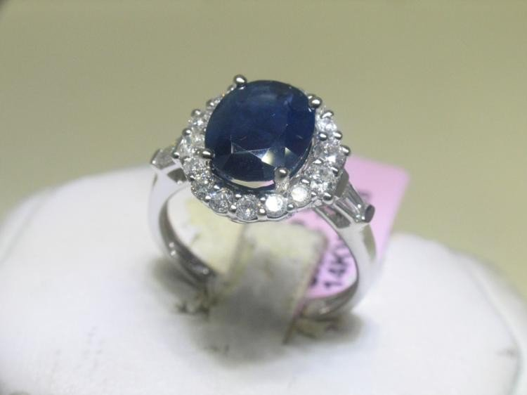 14K White Gold Ring Blue Sapphire and .68 CT Diamonds