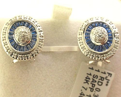 Blue Sapphire and 14K White Gold Diamonds Earrings