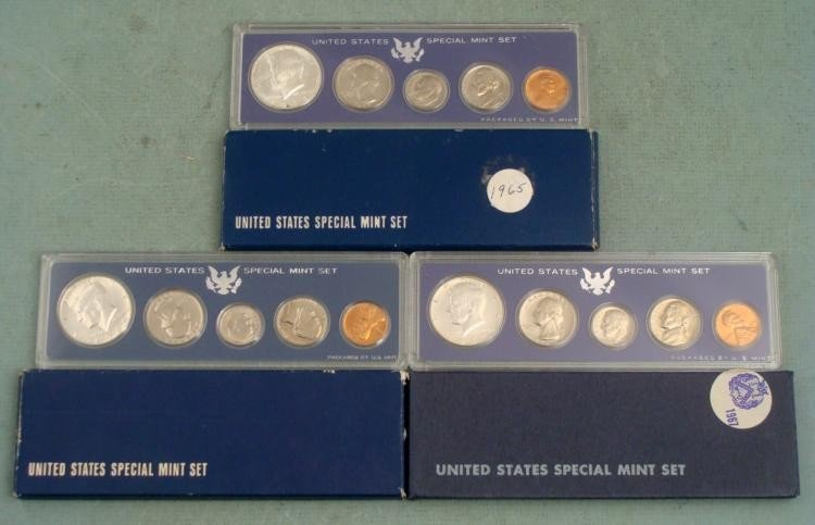 3 Diff Date Special Mint Sets 1965, 1966, 1967