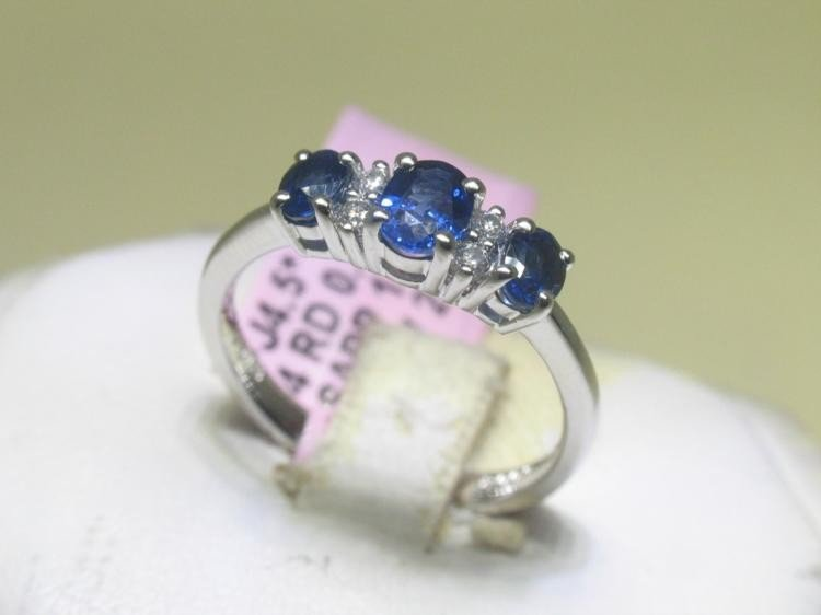 .08 CT Diamonds and Blue Sapphire 14K White Gold Ring