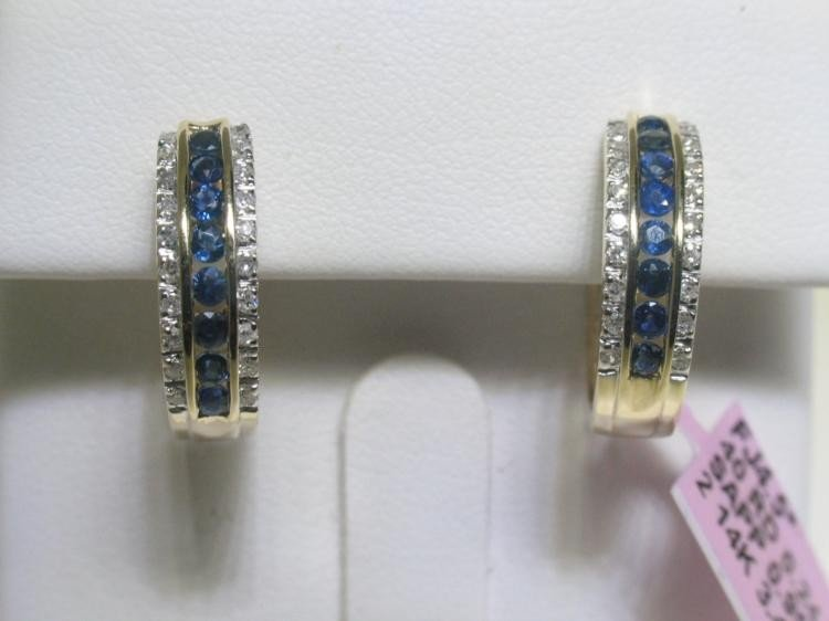 Blue Sapphire and Diamonds 14K Yellow Gold Earrings