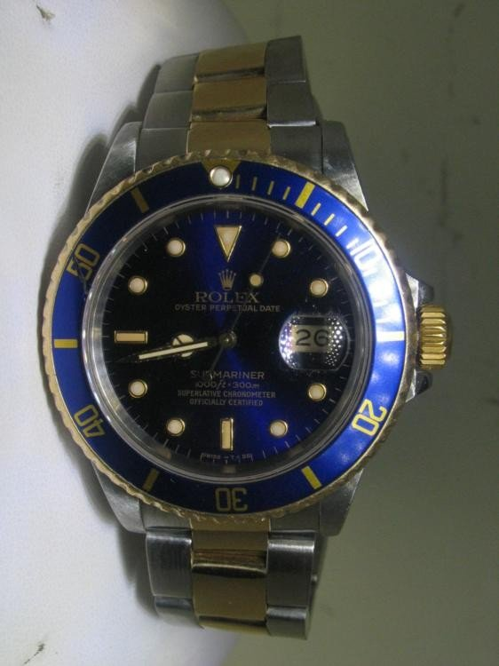 Rolex Submariner Mens Two-Tone Watch Blue Dial & Bezel