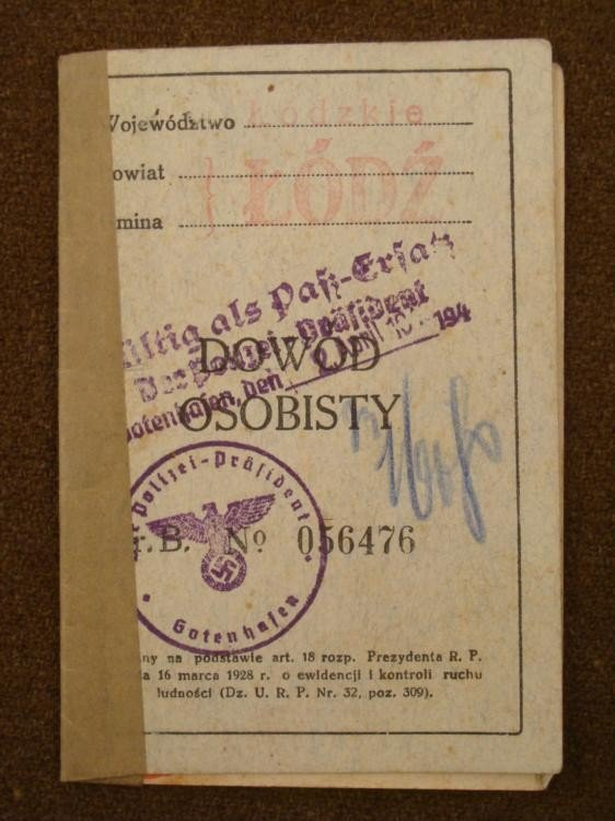1936 NAZI ISSUED IDENTITY PAPERS FOR CITIZEN OF POLAND