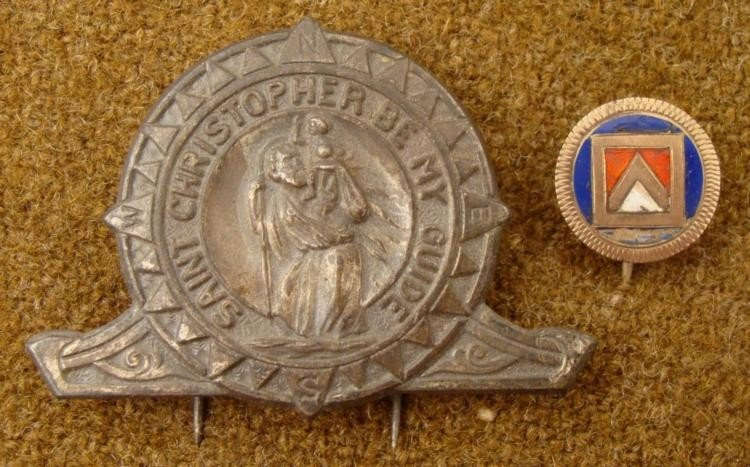 1920 MASONIC PIN & 1940 ST CHRISTOPHER MEDAL