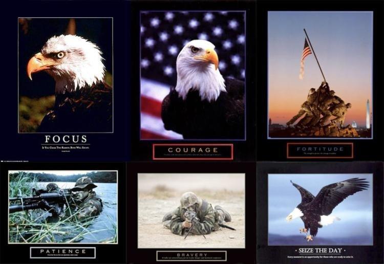 6 Patriotic Military Art Prints American Eagle Iwo Jima