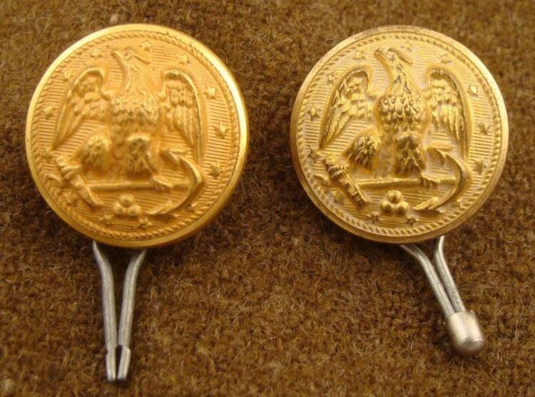 2 Civil War Orig Gilt Naval Buttons w/ Enamel Backs