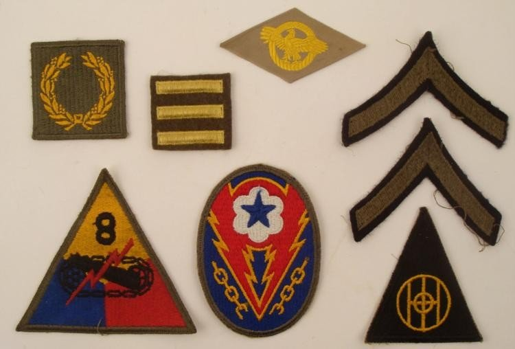 LOT OF 8 WWII US PATCHES--8 ARMORED, ETO ADVANCE,BASE