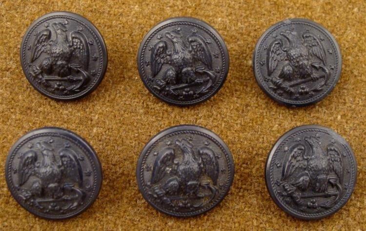 6 Civil War Orig Black Naval Buttons