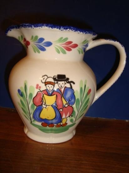 French faience pitcher made by Pornic