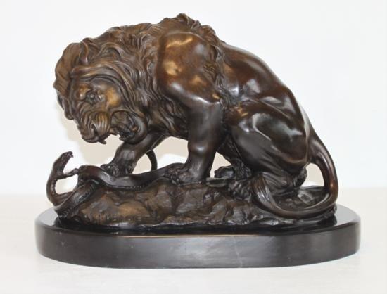 Majestic Bronze Sculpture Fighting Lion & Serpent
