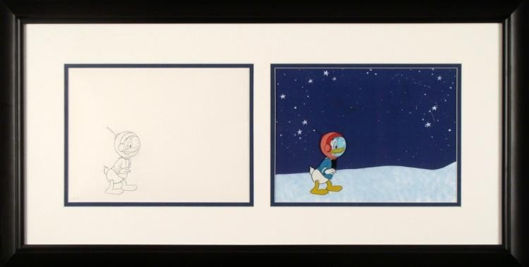 Framed Original Animation Donald Duck Cel Drawing Space