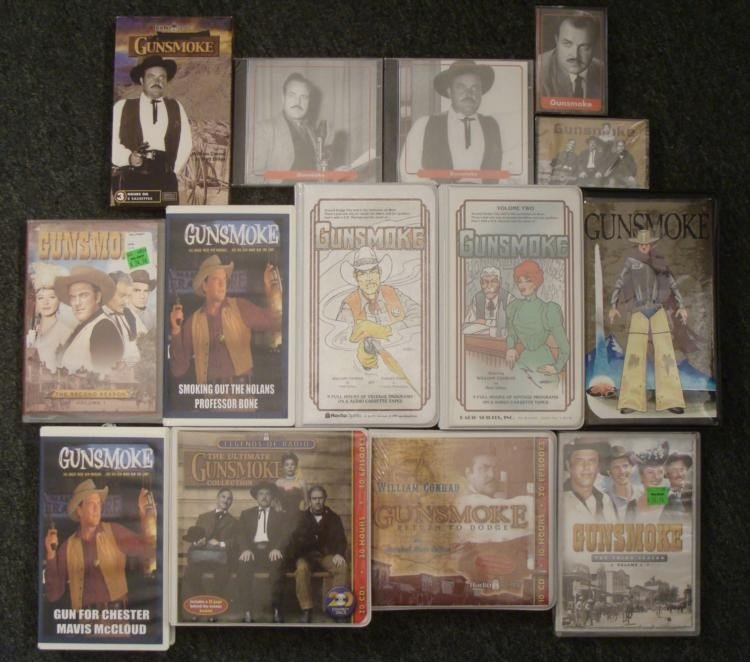 14 item Gunsmoke Collection DVDs VHS Cassette Tapes CDs